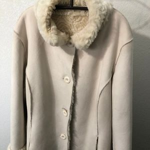 Reversible!  Cream coat - faux suede and faux fur